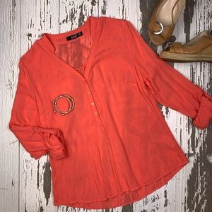 Woman Tunic Coral Blouse.